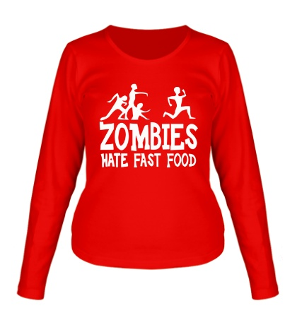 Женский лонгслив Zombies hate fast food
