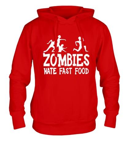 Толстовка с капюшоном Zombies hate fast food