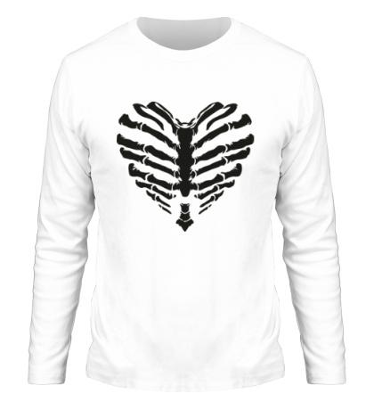 Мужской лонгслив Сердце скелет