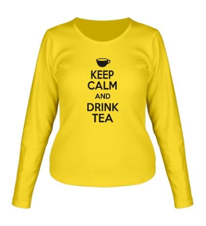 Женский лонгслив Keep calm and drink tea