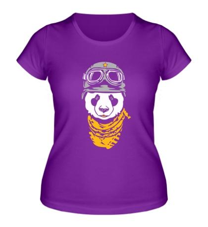 Женская футболка «Панда байкер»