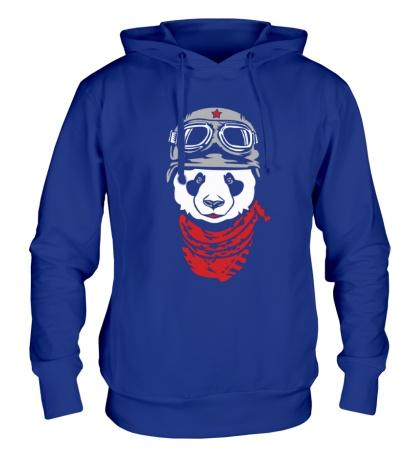 Толстовка с капюшоном Панда байкер