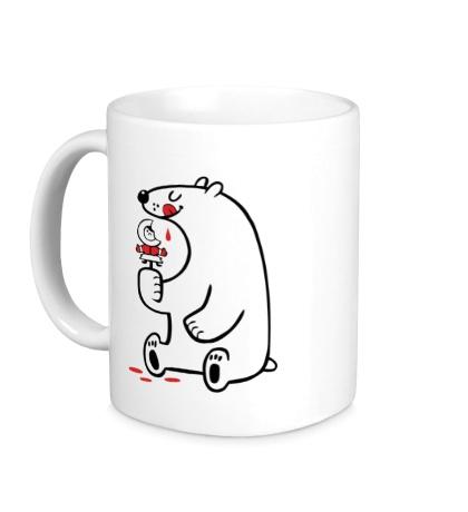 Керамическая кружка Медведь ест эскимоса