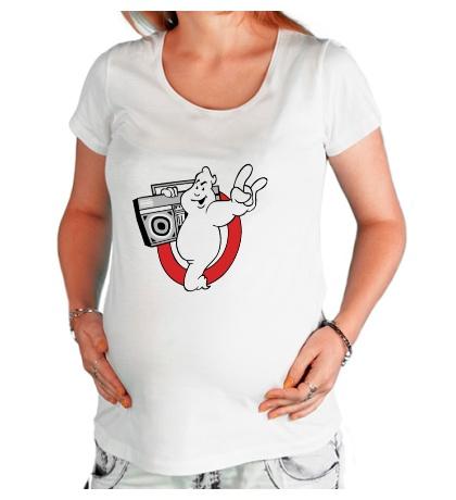 Футболка для беременной Привидение с магнитофоном