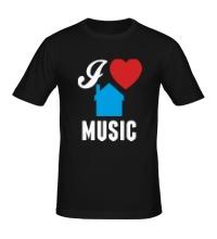 Мужская футболка I Listen House Music