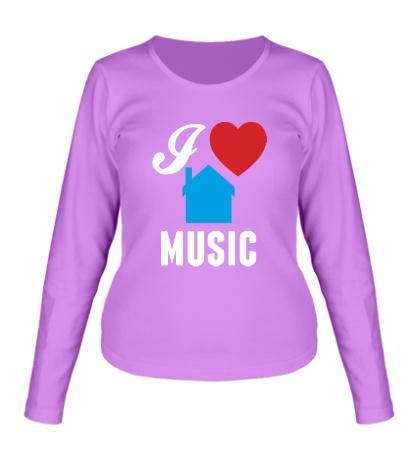 Женский лонгслив I Listen House Music