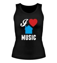 Женская майка I Listen House Music