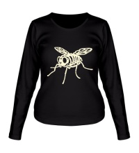 Женский лонгслив Рентген мухи glow