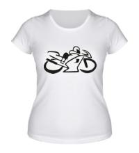 Женская футболка Мотобайк