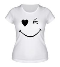 Женская футболка Подмигивающий смайлик