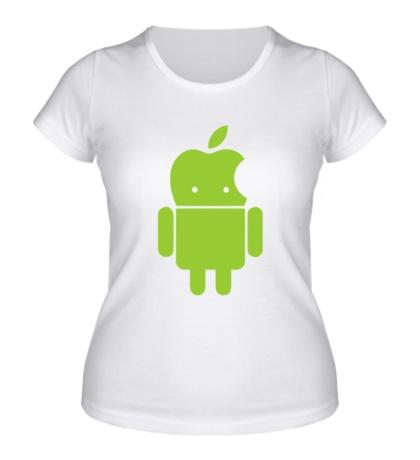 Женская футболка Андроид яблокоголовый