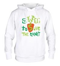 Толстовка с капюшоном Go veg to save the planet