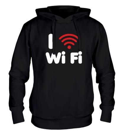 Толстовка с капюшоном I love Wi Fi