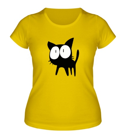 Женская футболка Удивленный котенок
