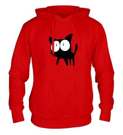 Толстовка с капюшоном Удивленный котенок