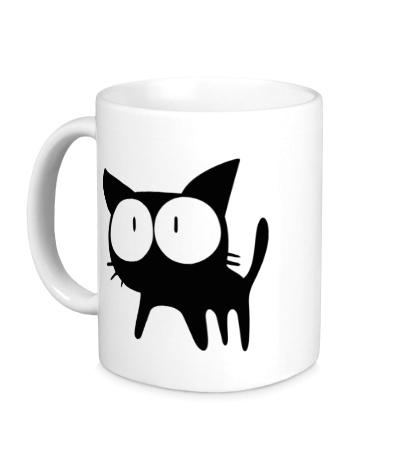 Керамическая кружка Удивленный котенок