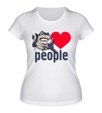 Женская футболка Shark love people