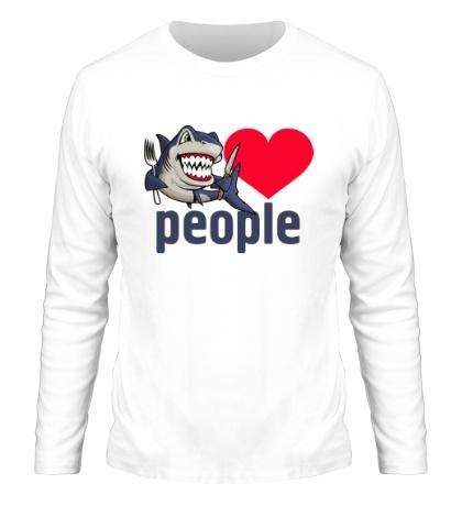 Мужской лонгслив Shark love people