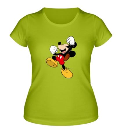Женская футболка Счастливый Микки Маус