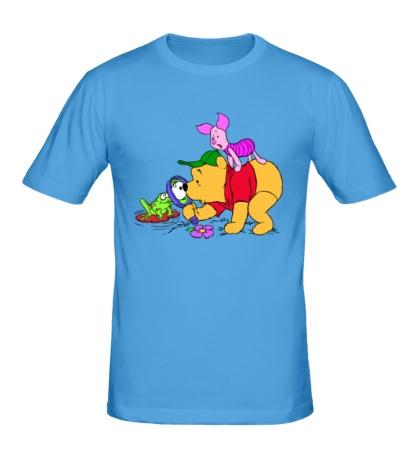 Мужская футболка Винни Пух и лягушка