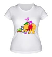 Женская футболка Винни Пух и лягушка