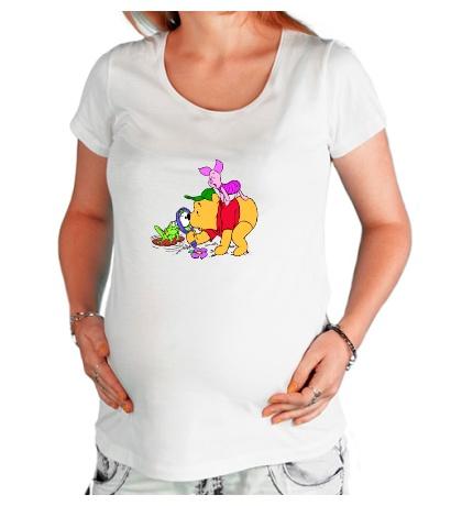 Футболка для беременной Винни Пух и лягушка