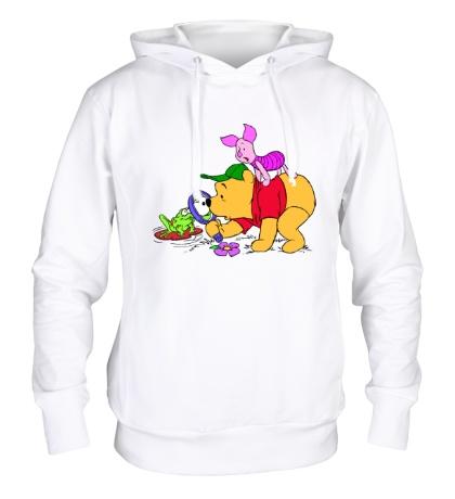 Толстовка с капюшоном Винни Пух и лягушка