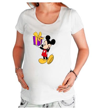 Футболка для беременной Микки Маус с подарком