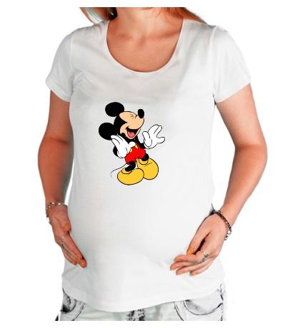 Футболка для беременной Микки Маус смеется