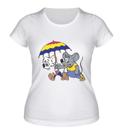 Женская футболка Мыши под зонтом