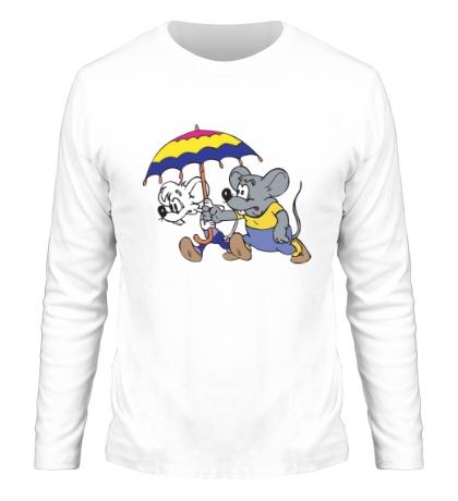 Мужской лонгслив Мыши под зонтом