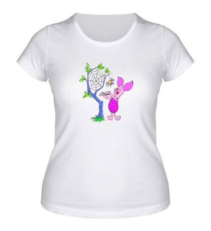Женская футболка Пятачок с пауком