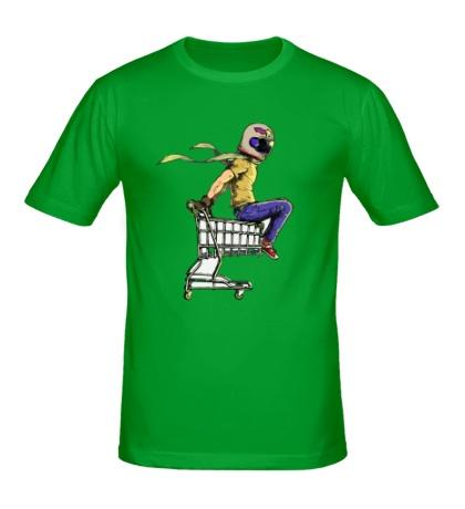 Мужская футболка Гонщик на магазинной тележке