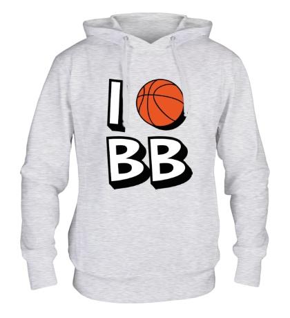 Толстовка с капюшоном I love Basketball