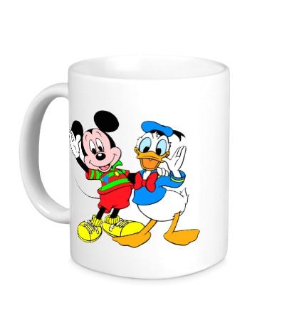 Керамическая кружка Микки Маус и Дональд Дак