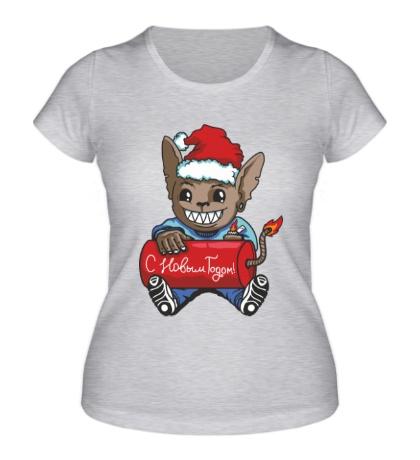 Женская футболка Мышь с петардой