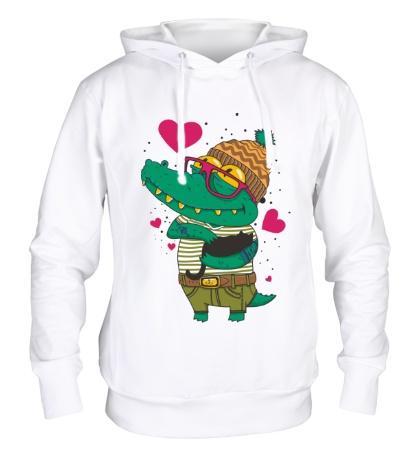 Толстовка с капюшоном Влюбленый крокодил