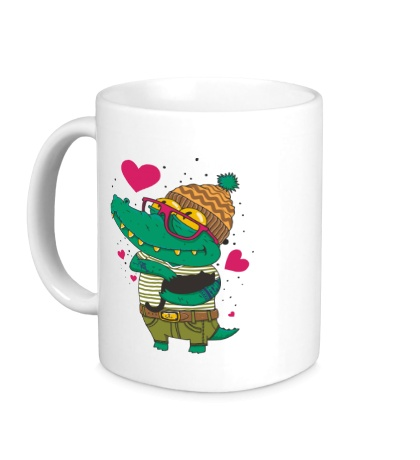 Керамическая кружка Влюбленый крокодил