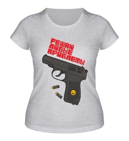 Женская футболка Решаю любые проблемы