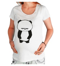 Футболка для беременной Угрюмая панда