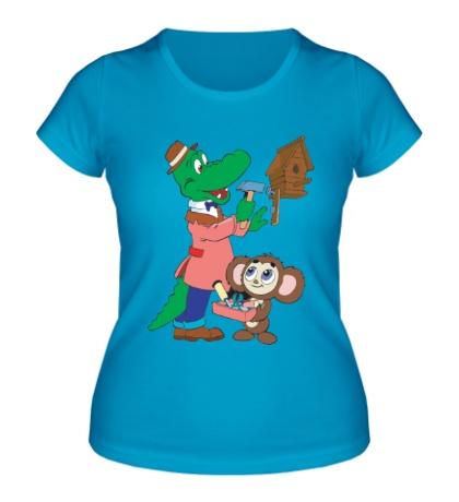 Женская футболка Гена и Чебурашка