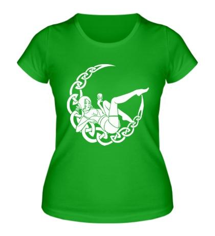 Женская футболка Девушка и луна