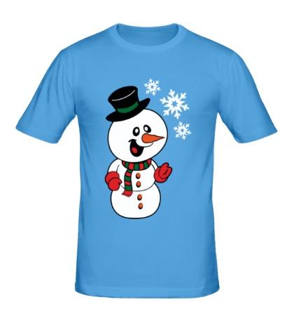Мужская футболка Снеговик и снежинки
