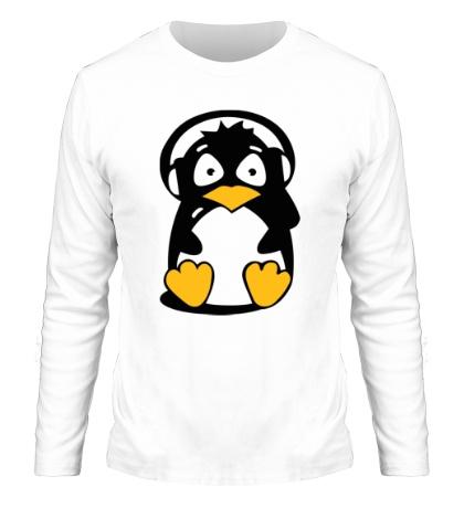 Мужской лонгслив Пингвин в наушниках