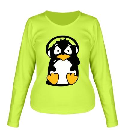 Женский лонгслив Пингвин в наушниках