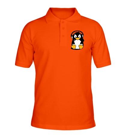 Рубашка поло Пингвин в наушниках