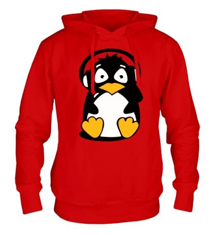 Толстовка с капюшоном Пингвин в наушниках