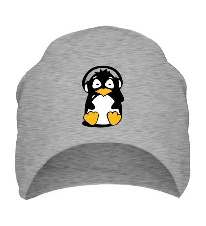 Шапка Пингвин в наушниках