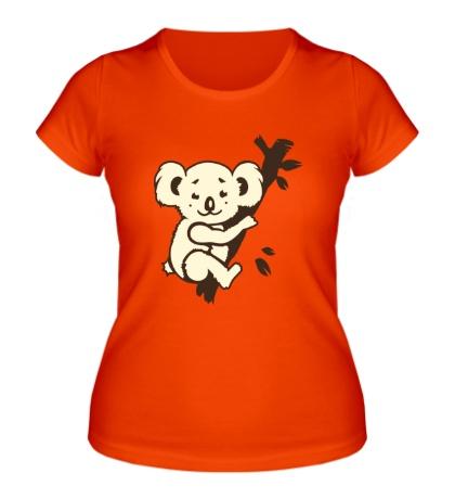 Женская футболка Коала на дереве glow