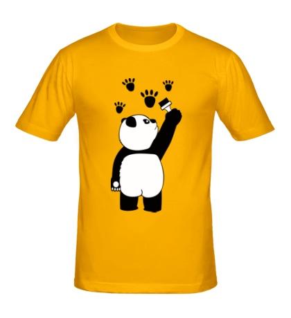 Мужская футболка Панда рисует следы